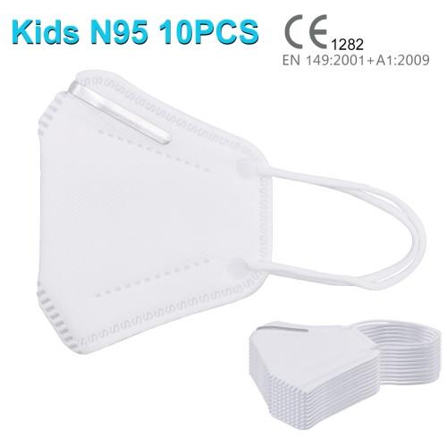 (10 pcs/Set) CE Certified Kids KN95 n95 Breathable Respirator Dustproof Antiviral Anti-fog Protective Face Mask for Kids Children
