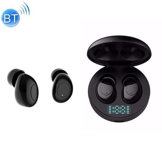 J1 TWS Digital Display Bluetooth V5.0 Wireless Earphones with LED Charging Box (Black)