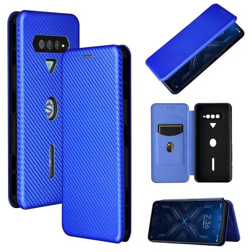 Carbon Fiber Texture Magnetic Horizontal Flip TPU + PC + PU Leather Case with Card Slot for Xiaomi Black Shark 4 (Blue)