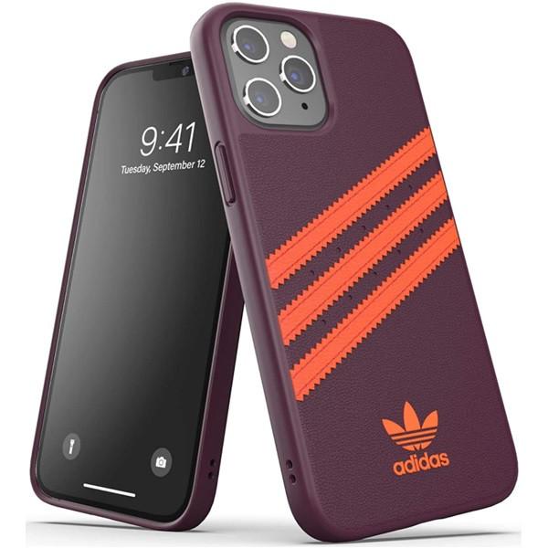 Adidas 3-Stripes Snap Case for iPhone 12 | 12 Pro Maroon/Solar Orange