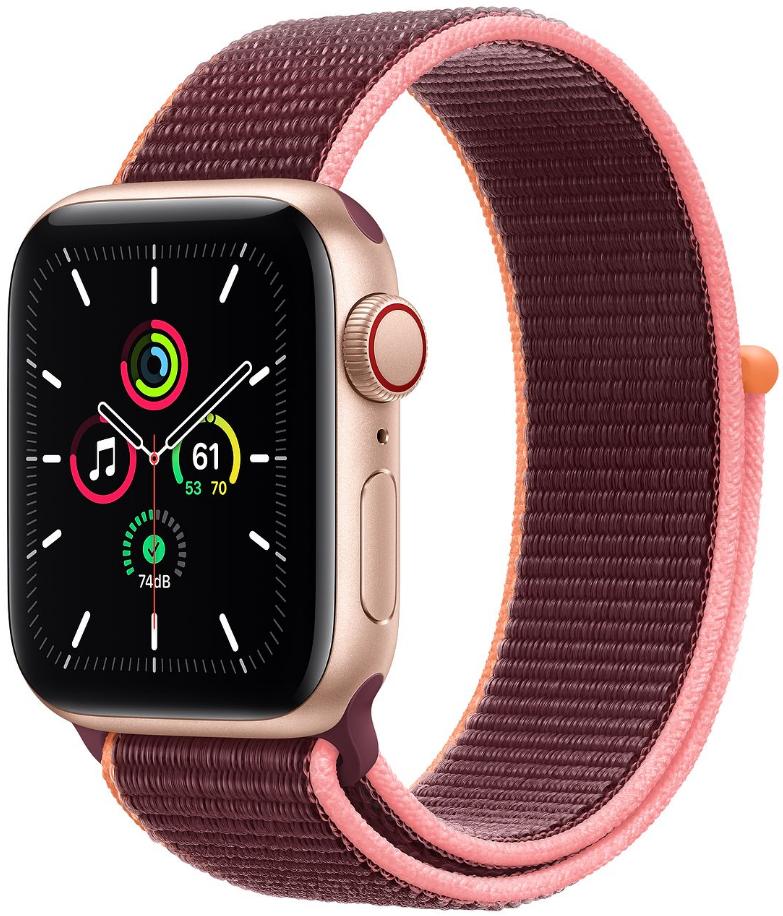 Apple Watch SE GPS + Cellular 40mm Gold Aluminium Case with Plum Sport Loop