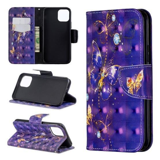 Etoren Com 3d Colored Drawing Pattern Horizontal Flip Leather Case For Iphone 11 Pro Purple Butterfly 15 Etoren Com