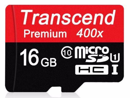 Transcend 16GB T-Flash/Micro Class 10 (400X)