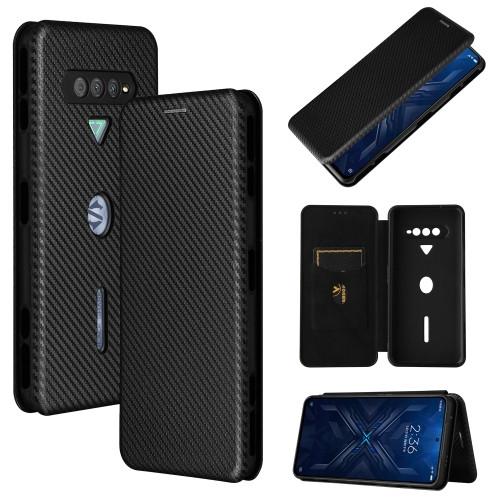 Carbon Fiber Texture Magnetic Horizontal Flip TPU + PC + PU Leather Case with Card Slot for Xiaomi Black Shark 4 (Black)