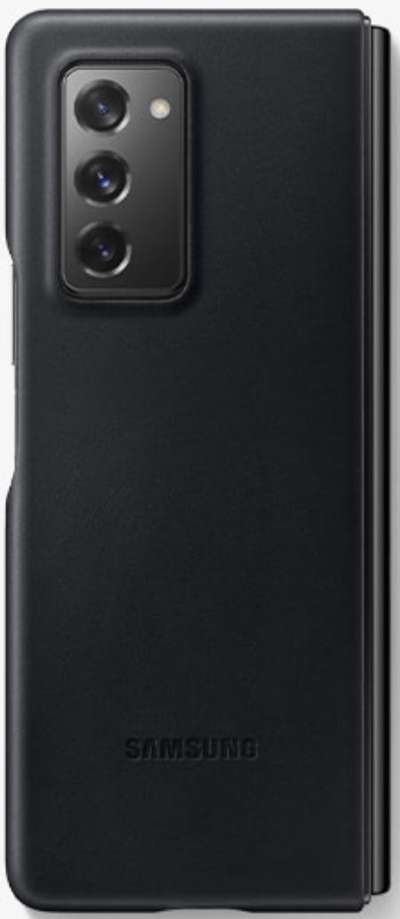 Samsung Galaxy Z Fold 2 Leather Phone Cover (Black)