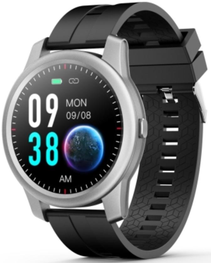 ELEPHONE R8 1.3 Waterproof Smart Watch Silver Case With Black Strap