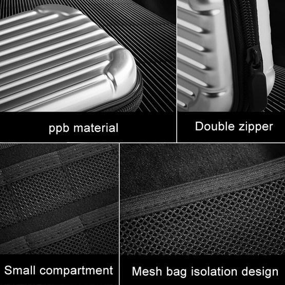 Portable EVA + PPB Storage Bag Handbag for Nintendo Switch Console(Silver White+Black)