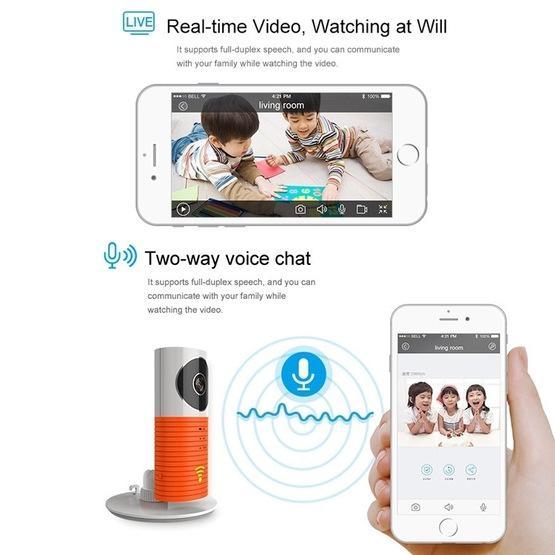 Automatically Enable Light Sensor Intelligent Home Wireless Wifi IP Camera (Orange)