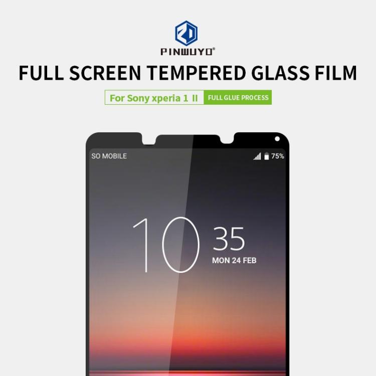 PINWUYO 9H 2.5D Full Screen Tempered Glass Film for Sony Xperia 1 II (Black)