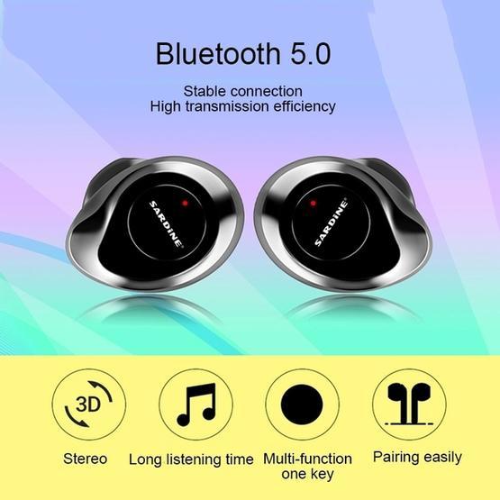 SARDiNE F8 TWS Bluetooth V5.0 Wireless Stereo Earphones with Charging Box(Black)