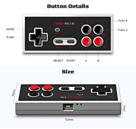 8Bitdo N30 2.4G Retro Wireless Controller Gamepad with Bluetooth Receiver