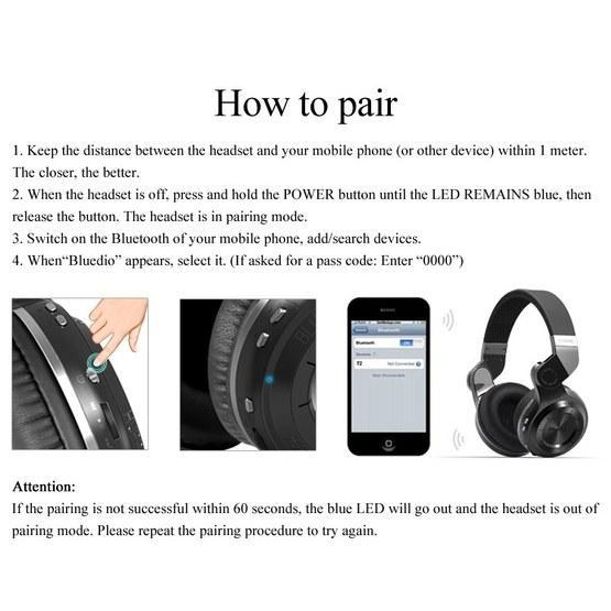 Bluedio T2 Turbine Wireless Bluetooth 4.1 Stereo Headphones with Mic (White)