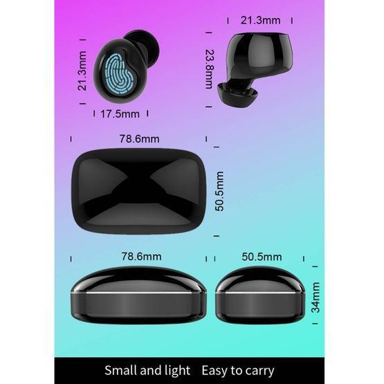 HAMTOD X29 TWS Bluetooth 5.0 Fingerprint Touch Wireless Bluetooth Earphone with Charging Box (Black)