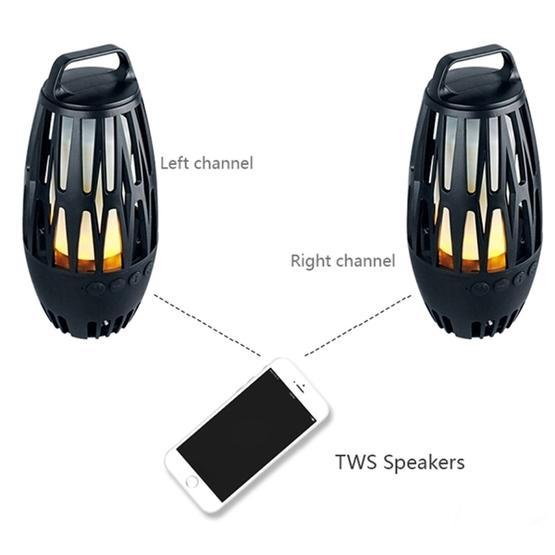 LED Flame Lamp Wireless Bluetooth Speaker  (Black)