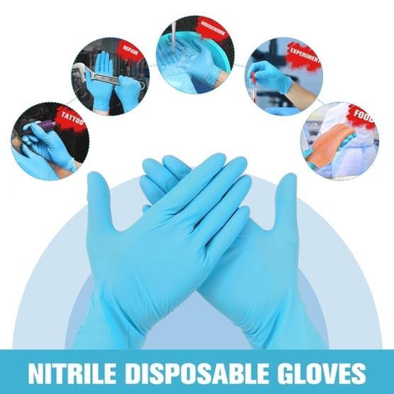 (100 pcs/Set) Blue Disposable Butyronitrile Gloves Housework Supplies, Size: M, Suitable for Palm Width: 8cm-9cm