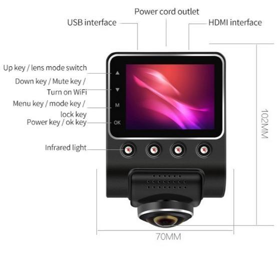 Car DVR - 360 Degree Panoramic WIFI Camera Night Vision (Dual camera)