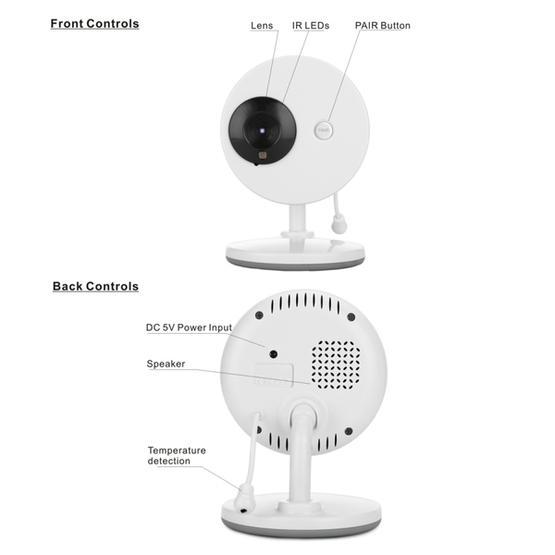 3.5 Inch Larger Screen Display Wireless Digital Monitoring Camera Baby Career  Monitor Wireless Baby Monitor SP851 (Black White) - AU Plug