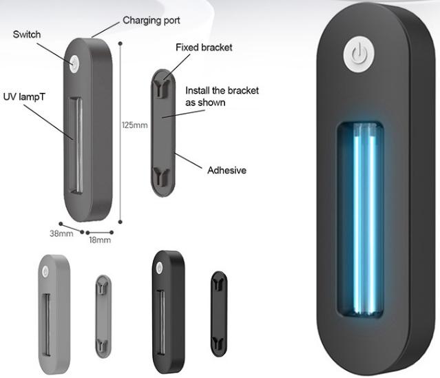 Portable Toilet UV LED Light Sterilizer Disinfection Stick Lamp (USB)(Black)