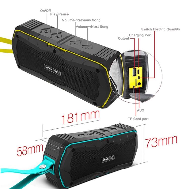 W-king S9 Outdoor Speakers Wireless Bluetooth Speaker Portable Waterproof Speakers (blue)