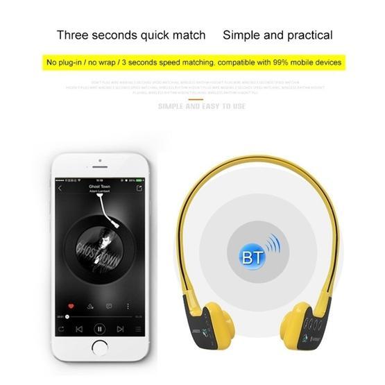 Bone Conduction Headphone Swimming Teaching Bluetooth Headphone (Yellow)