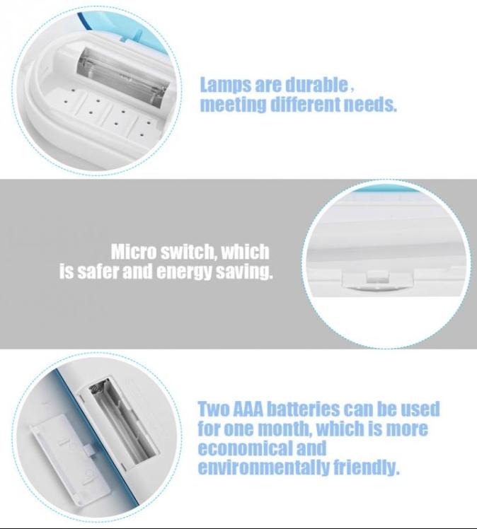 UV LED Light Travel Automatic Toothbrush Sterilizer Box Tooth Brush Disinfection Box (Blue)