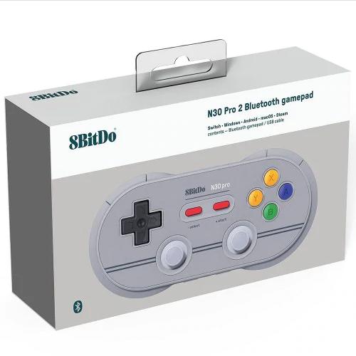 8Bitdo N30Pro2 Bluetooth Wireless Gamepad Game Controller (Light Grey)
