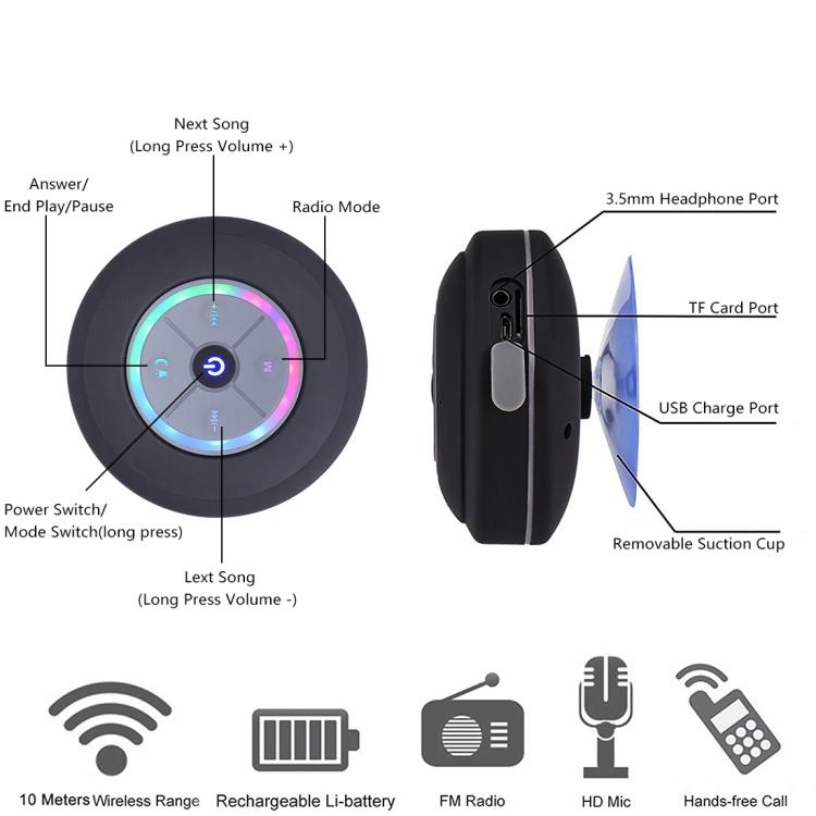 BTS-08 Wireless Bluetooth Speaker Waterproof Subwoofer Bluetooth Column Mini Shower Speaker(Black)