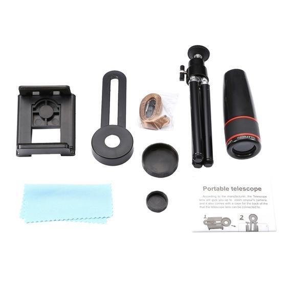 Universal 12x Zoom Optical Telescope Telephoto Camera Lens Kit, Suitable for Width as 5.5cm-8.5cm Mobile Phone (Black)